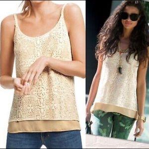 Cabi It Girl Ivory Crochet Lace Tank Top Size XL